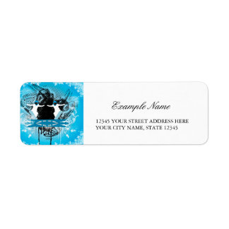 Snowboarders with snowflakes grunge, and damasks custom return address labels