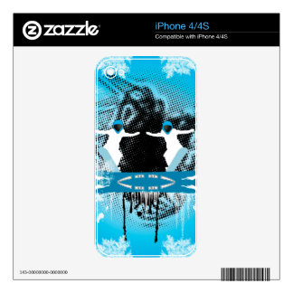 Snowboarders with snowflakes grunge, and damasks decals for iPhone 4S