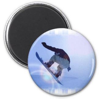 snowboarding-12 2 inch round magnet