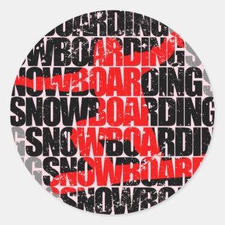 Snowboarding #1 (blk) classic round sticker