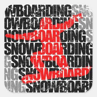 Snowboarding #1 (blk) square sticker