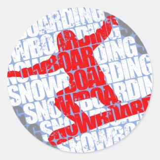 Snowboarding #1 (wht) classic round sticker