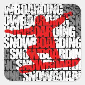 Snowboarding #1 (wht) square sticker