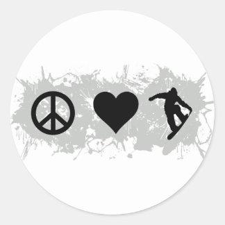 Snowboarding 3 round stickers