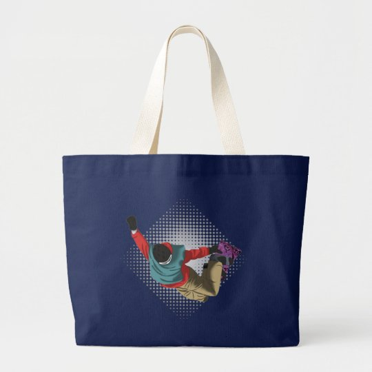 Snowboarding 7 large tote bag