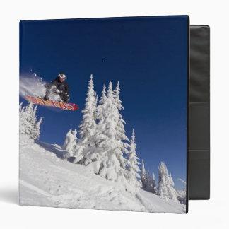 Snowboarding action at Whitefish Mountain Resort 3 Ring Binder