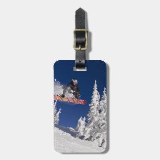 Snowboarding action at Whitefish Mountain Resort Bag Tag