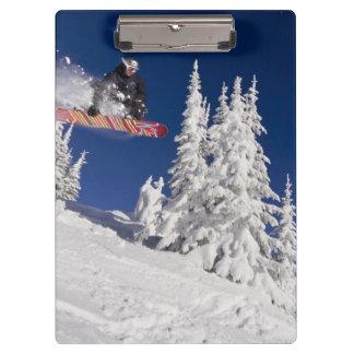 Snowboarding action at Whitefish Mountain Resort Clipboard