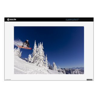 "Snowboarding action at Whitefish Mountain Resort Decal For 15"" Laptop"