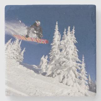 Snowboarding action at Whitefish Mountain Resort Stone Beverage Coaster