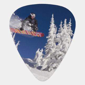 Snowboarding action at Whitefish Mountain Resort Guitar Pick