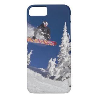 Snowboarding action at Whitefish Mountain Resort iPhone 8/7 Case