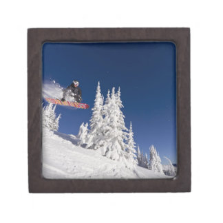 Snowboarding action at Whitefish Mountain Resort Jewelry Box