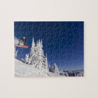 Snowboarding action at Whitefish Mountain Resort Jigsaw Puzzle