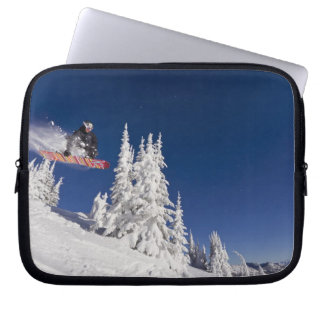 Snowboarding action at Whitefish Mountain Resort Laptop Sleeve