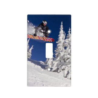 Snowboarding action at Whitefish Mountain Resort Light Switch Cover