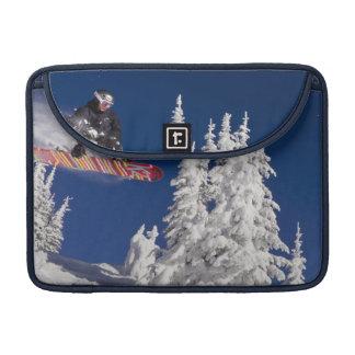 Snowboarding action at Whitefish Mountain Resort MacBook Pro Sleeve