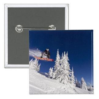Snowboarding action at Whitefish Mountain Resort Pinback Button