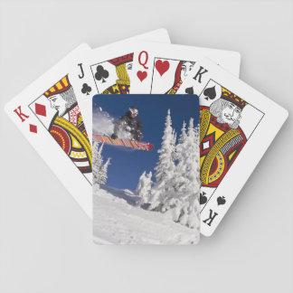 Snowboarding action at Whitefish Mountain Resort Playing Cards