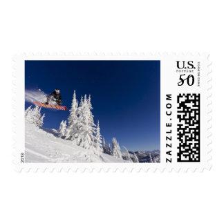 Snowboarding action at Whitefish Mountain Resort Postage