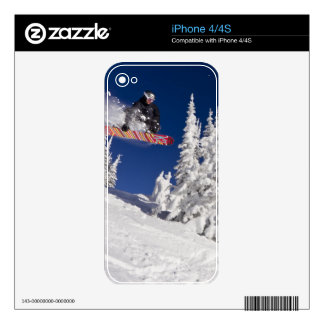 Snowboarding action at Whitefish Mountain Resort Skins For iPhone 4