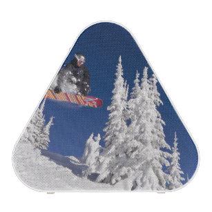 Snowboarding action at Whitefish Mountain Resort Speaker