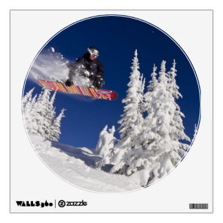 Snowboarding action at Whitefish Mountain Resort Wall Decal