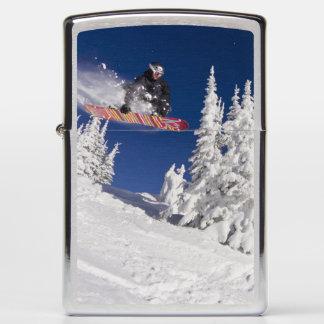 Snowboarding action at Whitefish Mountain Resort Zippo Lighter