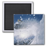 Snowboarding at Snowbird Resort, Wasatch 2 Inch Square Magnet