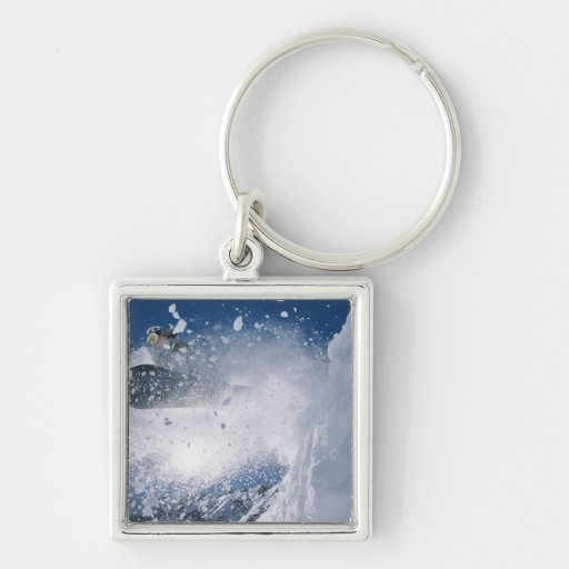 Snowboarding at Snowbird Resort, Wasatch Silver-Colored Square Keychain