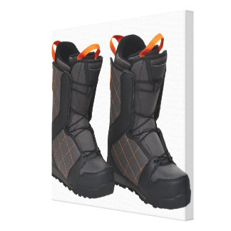 Snowboarding boots on white background, cut out canvas print