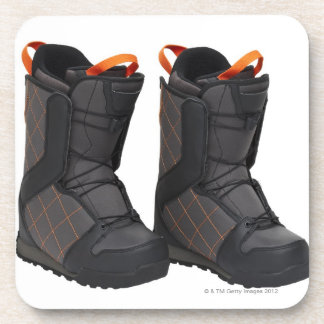 Snowboarding boots on white background cut out beverage coaster