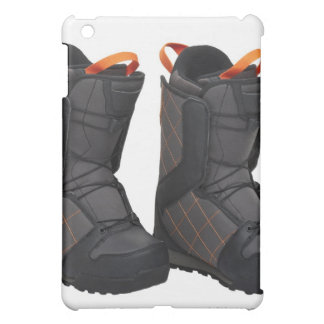 Snowboarding boots on white background, cut out cover for the iPad mini