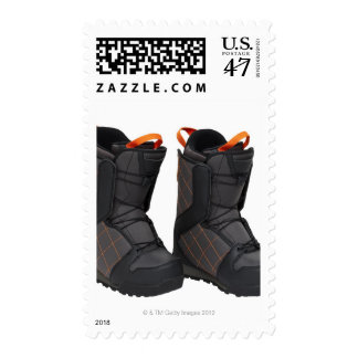 Snowboarding boots on white background, cut out postage