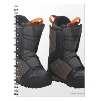 Snowboarding boots on white background, cut out spiral notebook
