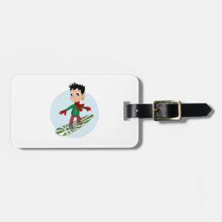 Snowboarding boy cartoon bag tags