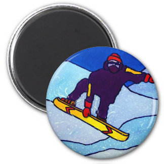 Snowboarding by Piliero 2 Inch Round Magnet