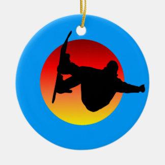 snowboarding ceramic ornament