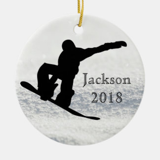 Snowboarding Christmas Black on Snow Ceramic Ornament