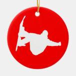 snowboarding christmas tree ornament