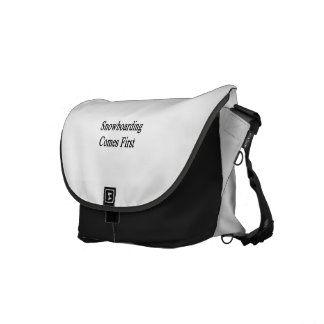 Snowboarding Comes First Messenger Bags