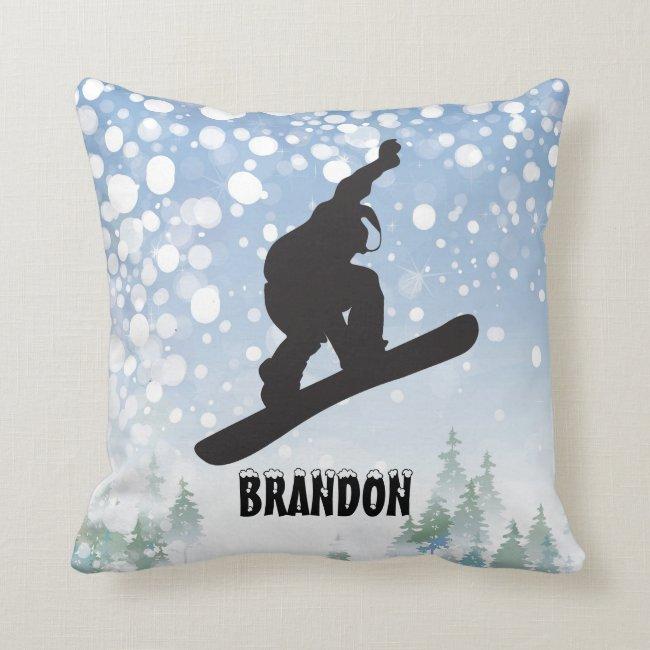 Snowboarding Design Throw Pillow