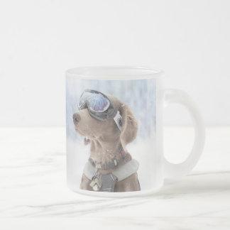 Snowboarding dog -dog winter -dog glasses frosted glass coffee mug