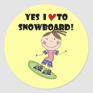 Snowboarding Girl Tshirts and Gifts Classic Round Sticker