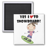 Snowboarding Girl Tshirts and Gifts Fridge Magnet