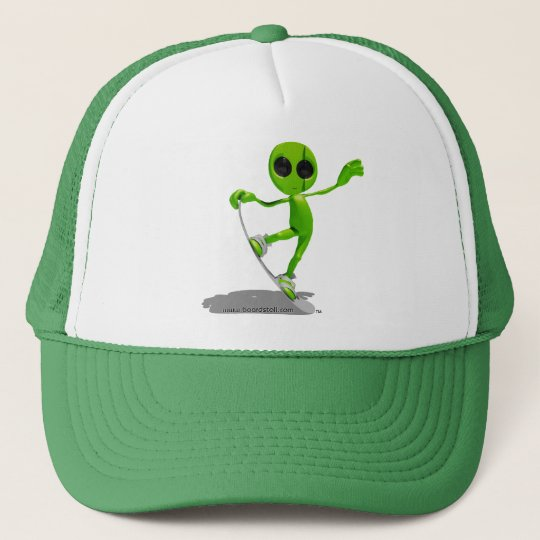 Snowboarding Green Alien Hat