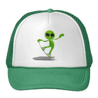 Snowboarding Green Alien Hat