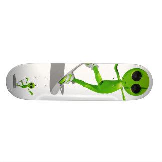 Snowboarding Green Alien Skateboard