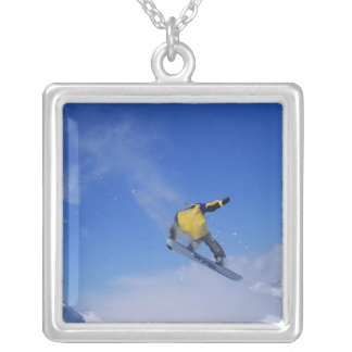 Snowboarding in Grizzly Gulch, Little Cottonwood Square Pendant Necklace