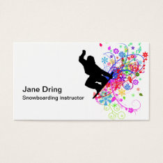 snowboarding instructor business cards at Zazzle